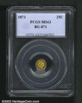 California Fractional Gold: , 1873 25C Indian Round 25 Cents, BG-871, High R.6, MS63 PCGS....