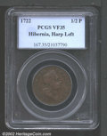 Colonials: , 1722 1/2P Hibernia Halfpenny, Type One VF35 PCGS. Harp at...