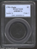 1793 Chain 1C AMERICA VG10 PCGS. S-3, Low R.3. Deep brown patina covers both sides of this low grade, affordable Chain C...