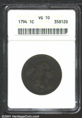 1794 1C Head of 1794 VG10 ANACS. S-44, High R.1. An easily attributable variety due to the diagonal die crack through th...