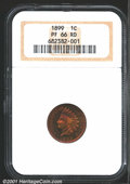 Proof Indian Cents: , 1899 1C PR66 Red NGC. Bright and curiously vivid crimson-...