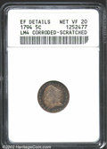 Early Half Dimes: , 1794 H10C--Corroded, Scratched--ANACS, XF Details, Net VF20....