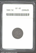 Early Half Dimes: , 1800 H10C XF45 ANACS. V-1, LM-1, R.3. Deep gray patina cov...