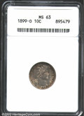 Barber Dimes: , 1899-O 10C MS63 ANACS. The gold, green, violet and russet...