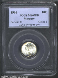 1916 10C MS67 Full Bands PCGS. This is a lovely first-year example with mostly silver-white, matte textured surfaces and...