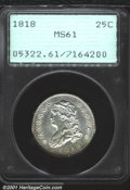 Bust Quarters: , 1818 25C MS61 PCGS. B-3, R.1. A brilliant example with go...
