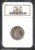 Seated Quarters: , 1872 25C MS61 NGC. Lightly toned with blushes of milky le...