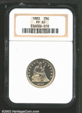 Proof Seated Quarters: , 1883 25C PR65 NGC. Well struck with brilliant and satiny ...