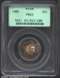 Proof Barber Quarters: , 1905 25C PR63 PCGS. Glorious blue, rose, and burnt-gold i...