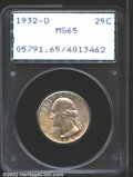 Washington Quarters: , 1932-D 25C MS65 PCGS. Splashes of mottled orange-gold irid...