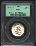 Washington Quarters: , 1935-D 25C MS65 PCGS. A solid Gem example of this scarce,...
