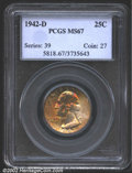 Washington Quarters: , 1942-D 25C MS67 PCGS. Scattered reddish-gold and steel-bl...