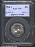 Washington Quarters: , 1942-S 25C MS67 PCGS. Lustrous with a very good strike an...