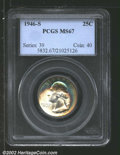 Washington Quarters: , 1946-S 25C MS67 PCGS. This and the following coin are fro...