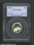Washington Quarters: , 1946-S 25C MS67 PCGS. The obverse is spectacularly toned ...