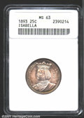 1893 25C Isabella Quarter MS63 ANACS. The peripheral grape-purple and russet patina closes in on the untoned centers. Ve...