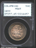 Commemorative Silver: , 1893 50C Columbian MS65 PCGS. Bright bands of aqua-blue, ...