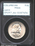 Commemorative Silver: , 1893 50C Columbian MS66 PCGS. Brilliant and highly lustro...