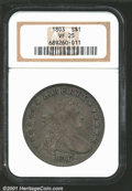 Early Dollars: , 1803 $1 Small 3 VF25 NGC. B-5, BB-252, R.3. Die State I....