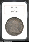 Early Dollars: , 1803 $1 Large 3 Fine 12 NGC. B-3, BB-256, R.2. The rich ...