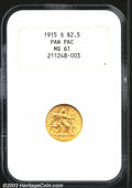 Commemorative Gold: , 1915-S $2 1/2 Panama-Pacific Quarter Eagle MS61 NGC. Well...