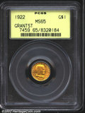 Commemorative Gold: , 1922 $1 Grant with Star MS65 PCGS. A lustrous Gem with br...