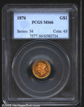 Gold Dollars: , 1876 $1 MS66 PCGS. A mere 3,200 business strikes were pro...