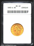Liberty Half Eagles: , 1893-S $5 MS60 ANACS. Sharply struck and fully lustrous. ...
