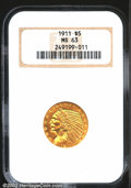 Indian Half Eagles: , 1911 $5 MS63 NGC. Portions of the fields have toned a bri...