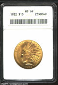 Indian Eagles: , 1932 $10 MS64 ANACS. Lustrous with a very good strike and...
