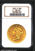 Liberty Double Eagles: , 1861-O $20 AU58 NGC. The '61-O is a very scarce Type One ...