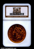 Liberty Double Eagles: , 1871-S $20 AU58 NGC. Lustrous for the grade and with a ve...