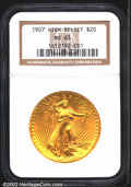 High Relief Double Eagles: , 1907 $20 High Relief, Wire Rim MS63 NGC. Satiny yellow-gol...