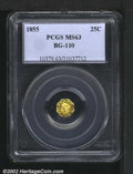 California Fractional Gold: , 1855 25C Liberty Octagonal 25 Cents, BG-110, R.5, MS63 PCGS....