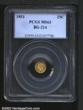 California Fractional Gold: , 1853 25C Liberty Round 25 Cents, BG-214, R.7, MS63 PCGS. S...