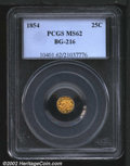 California Fractional Gold: , 1854 25C Liberty Round 25 Cents, BG-216, R.7, MS62 PCGS. ...