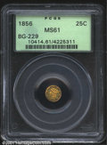 California Fractional Gold: , 1856 25C Liberty Round 25 Cents, BG-229, R.5, MS61 PCGS. ...
