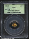California Fractional Gold: , 1856 25C Liberty Round 25 Cents, BG-230, R.5, MS63 PCGS. ...