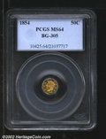 California Fractional Gold: , 1854 50C Liberty Octagonal 50 Cents, BG-305, R.5, MS64 PCGS....