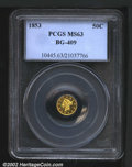California Fractional Gold: , 1853 50C Liberty Round 50 Cents, BG-409, R.5, MS63 PCGS. ...