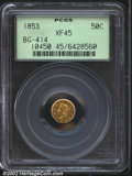 California Fractional Gold: , 1853 50C Liberty Round 50 Cents, BG-414, R.6, XF45 PCGS. ...