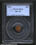 California Fractional Gold: , 1853 50C Liberty Round 50 Cents, BG-421, R.5, MS62 PCGS. ...