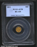 California Fractional Gold: , 1853 50C Liberty Round 50 Cents, BG-430, R.5, AU58 PCGS. ...