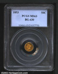 California Fractional Gold: , 1853 50C Liberty Round 50 Cents, BG-430, R.5, MS63 PCGS. ...