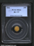 California Fractional Gold: , 1866 25C Liberty Octagonal 25 Cents, BG-737, R.7, MS64 PCGS....