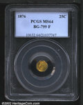 California Fractional Gold: , 1876 25C Indian Octagonal 25 Cents, BG-799F, R.7, MS64 PCGS....