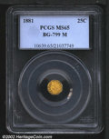 California Fractional Gold: , 1881 25C Indian Octagonal 25 Cents, BG-799M, R.7, MS65 PCGS....