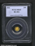 California Fractional Gold: , 1866 25C Liberty Round 25 Cents, BG-804, R.6, MS65 PCGS. A...