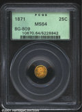 California Fractional Gold: , 1871 25C Liberty Round 25 Cents, BG-809, R.4, MS64 PCGS. ...