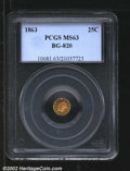 California Fractional Gold: , 1863 25C Liberty Round 25 Cents, BG-820, R.6, MS63 PCGS. ...